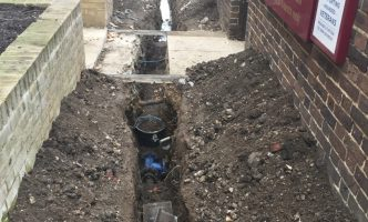 Excavation for New Water Main at Hospital in London